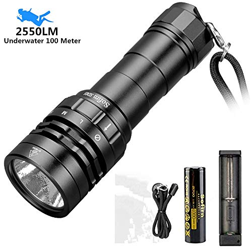 Scuba Diving Flashlight, Sofirn SD05 CREE XHP50.2 LED 2550 Lumen, Underwater Waterproof Light with Rechargeable 21700 Battery and USB Charger