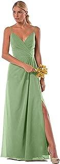Spaghetti Straps V Neck Bridesmaid Dresses Chiffon A Line Long Split Prom Party Gowns