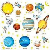 DECOWALL DW-1307DE Alemán Planetas en el Espacio Vinilo Pegatinas Decorativas Adhesiva Pared Dormitorio Salón Guardería Habitación Infantiles Niños Bebés (Medio)