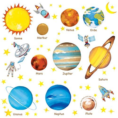 DECOWALL DW-1307DE Deutsch Sonnensystem Planeten Platz Weltraum Wandtattoo Wandsticker Wandaufkleber Wanddeko für Wohnzimmer Schlafzimmer Kinderzimmer (Mittlere)