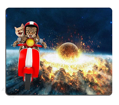 Pingpi Gaming Mouse Pad Custom,Two Funny Cats are Driving a Moped Personalized Design Non-Slip Rubber Mouse pad
