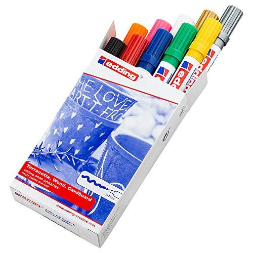 Edding 4000-10S - Caja de 10 marcadores de tinta opaca mate, trazo 2-4 mm, colores surtidos