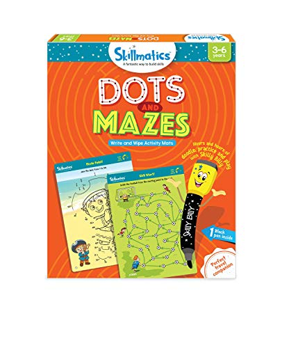 Skillmatics Educational Game: Dots and Mazes (3-6 Years), Erasable and Reusable Activity Mats, Learning Tools for Kids, Travel Friendly Toys