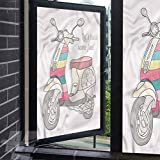 ScottDecor Blackout Window Film Motorcycle Scooter Transportation Window Sticker for Bathroom Bedroom Living Room 17.7 x 118.1 inches