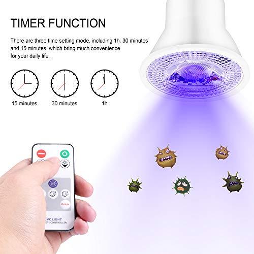 XIANNVV Lámpara de desinfección, bombilla UVC, iluminación y desinfección de doble propósito, con control remoto, conmutación inteligente, resistente al agua