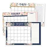 Navy Floral 2021-2022 Desk Calendar, Large Monthly Wall Planner, 18 Month Academic Desktop Calendar or Fridge Planning Blotter Pad, Pink Notes Section for Teachers, Family or Business Office 11x17'