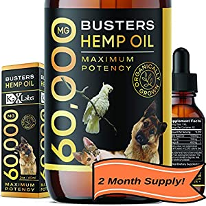 Buster's Organic Hemp Oil Large 60 Milliliters Bottle, 2Month Supply – for Dogs & Cats – Max Potency – Made in USA – Omega Rich 3, 6 & 9 – Hip & Joint Health, Natural Relief, Calming (60,000MG)