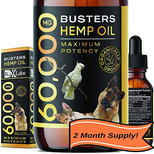 Buster's Organic Hemp Oil Large 60 Milliliters for Dogs & Cats - Max Potency - Made in USA - Omega Rich 3, 6 & 9 - Hip & Joint Health, Natural Relief for Pain, Separation Anxiety (60,000MG)