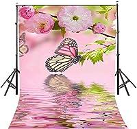 HD 7x10ftの蝶の背景ピンクの蝶のロマンチックな花の写真の背景とスタジオの写真撮影の背景の小道具LYNAN314