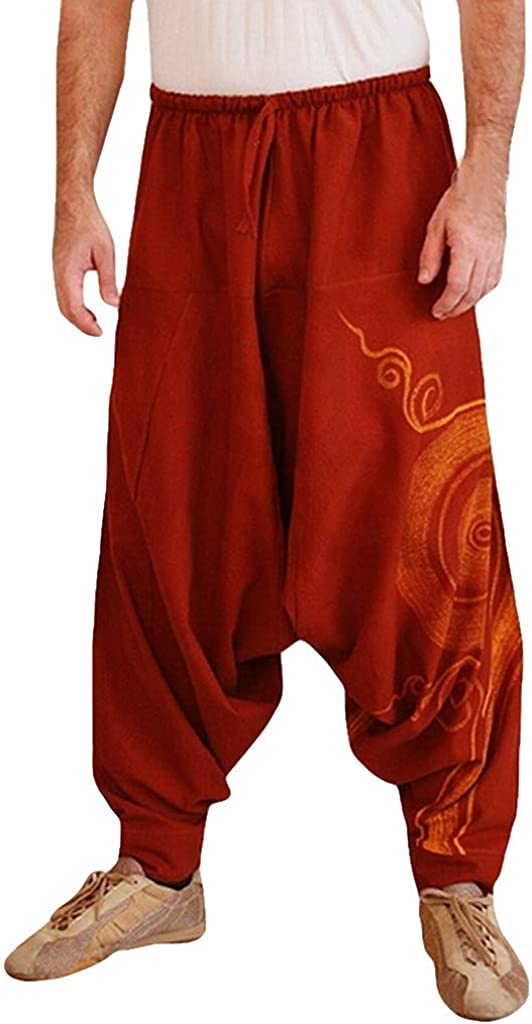 Beshion Mens Casual Wide Leg Pants Yoga Work Ethnic Printed Traning Pants Casual Elastic Waist Palazzo Trousers
