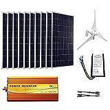 ECO-WORTHY 1400W Wind Solar Power Kit: 400W DC 24V Wind Turbine Generator 3 Blade with Controller & 10pcs 100W Mono Solar Panels & 3500W 24V-110V Off Grid Inverter for Home, Boat, RV, Caravan