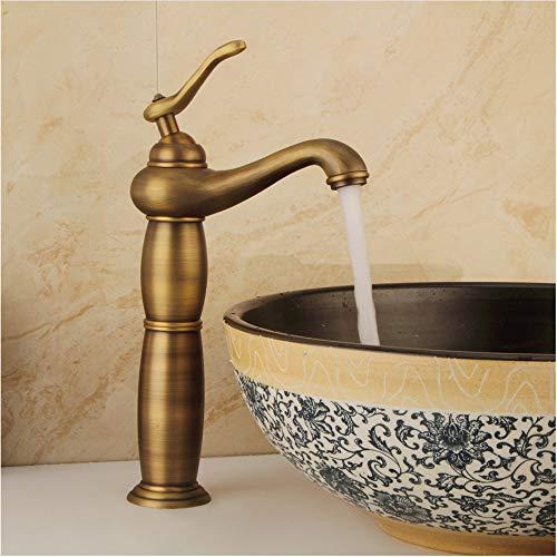 LLLYZZ Vintage antieke messing badkamer basin waterkraan borstel afwerking Hot & Cold water mengkraan plafond monteren zink waterkraan