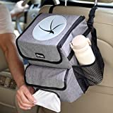 Gven Car Trash Can Automotive Garbage Cans with Lid& Tissue Holder Auto Trash Container for Car Hanging Trash Bag Organizer- Waterproof Liners Removable (Grey)…