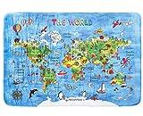 Amonev World - Alfombra de mapa del mundo para niños (antideslizante, 100 x 150 cm)