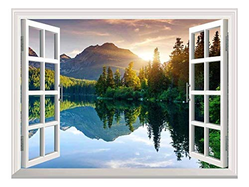 """wall26 A Peaking View Through The Forest of The Morning Sunrise - Wall Mural, Removable Sticker, Home Decor - (36""""x48"""", Lake and Mountains)"""