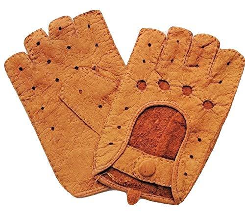 Weikert-Handschuhe exklusive fingerlose Auto Handschuhe aus echtem Peccary Leder, handgenäht, Herren, Germany (6,5, Natur)