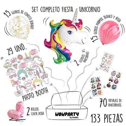 Wowparty Decoración Cumpleaños Unicornio, 133 pcs Decoración Fiesta Infantil, 29 pcs Accesorios Photocall, 2 Globos de Unicornio Grandes, 30 Globos Confeti y Rosas, 70 Tatuajes Temporales