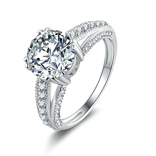 Beydodo Damen Ring Silber 925 4-Steg-Krappenfassung Weiß AAAAA Zirkonia Eherring Partnerringe Silber Gr.62 (19.7)
