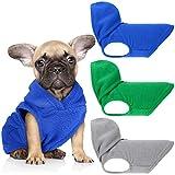 3 Pieces Dog Fleece Hoodie Puppy Fleece Pullover Dog Fleece Vest Sweatshirt Dog Apparel Winter Dog Clothes with Leash Ring for Small Medium Dogs (S, Green, Dark Blue, Gray)