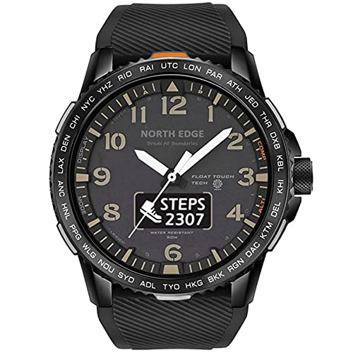 Reloj Digital De Los Hombres Ejército Militar 50M Impermeable Dual Pantalla Deportiva Monitor De Ritmo Cardíaco Bluetooth Compatible Pulsera,B