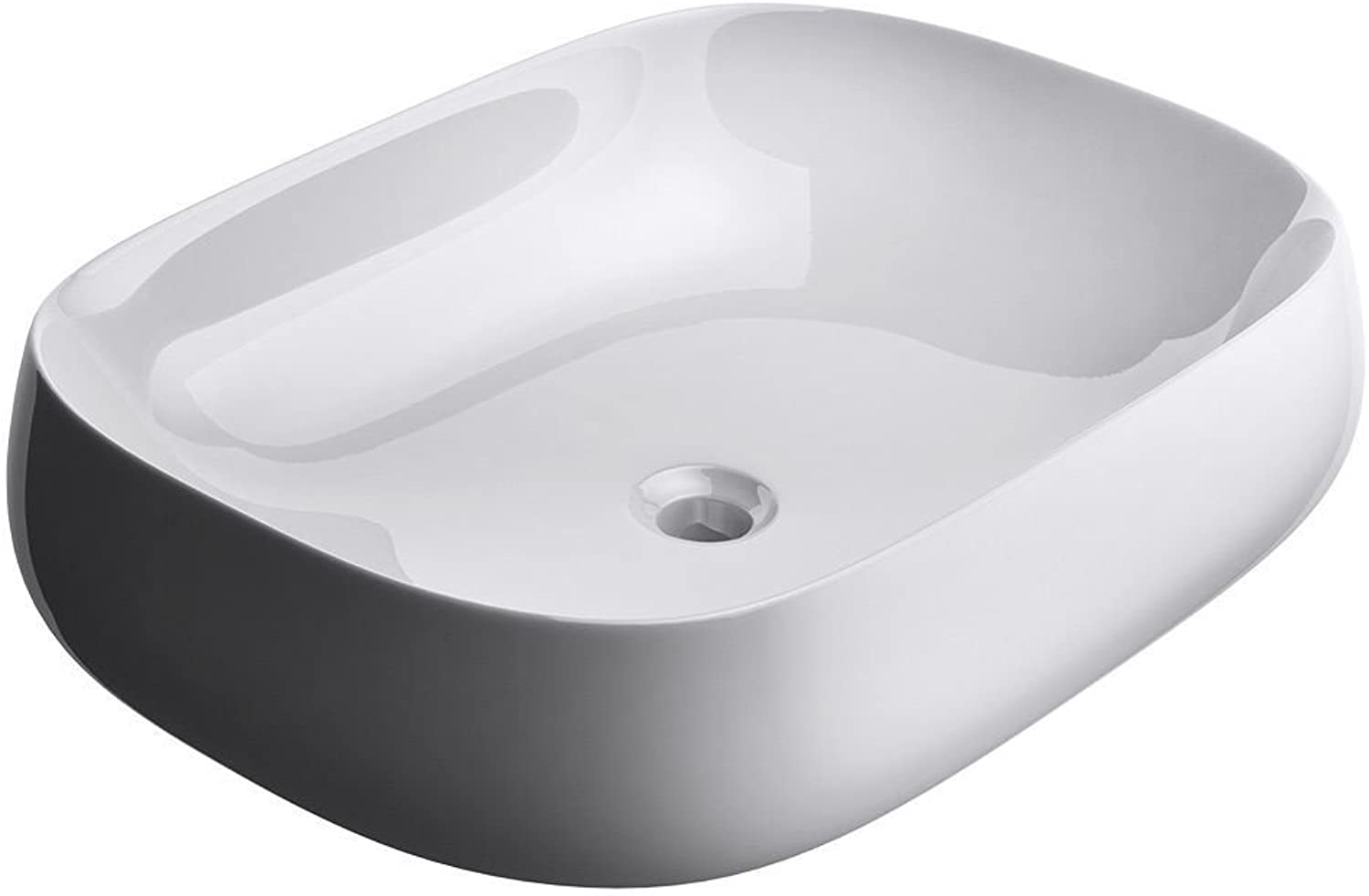 Durovin Bathrooms Ceramic Wash Basin   Counter Top Mounted Vessel   Square Washing Bowl Curved Wall