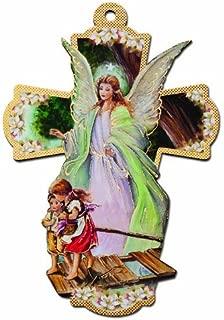 Italian Wooden Guardian Angel Wall Cross