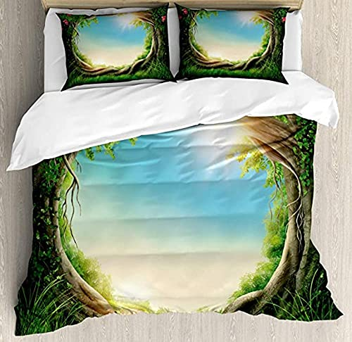 HUA JIE 3 Piece Queen Quilt Bedding Set Tree Duvet Cover Set Enchanted Forest In Spring Fresh Growth Foliage Blossoms Fantasy 3 Piece Bedding Set With 2 Pillow Shams,