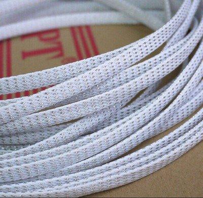 10m 4mm geflochten sleeven Pet Mesh erweiterbar Gartenschlauch Flexable Paracord Draht sleeving-white Silber Mix