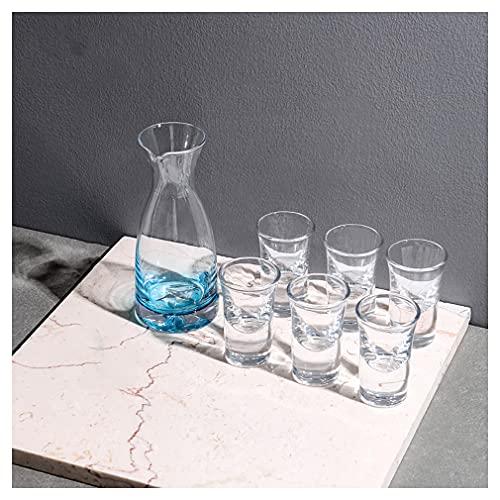 Juego de Vasos para Servir Sake con 1 Botella de Jarra de Sake 6 Tazas para Vino japonés más cálido o frío