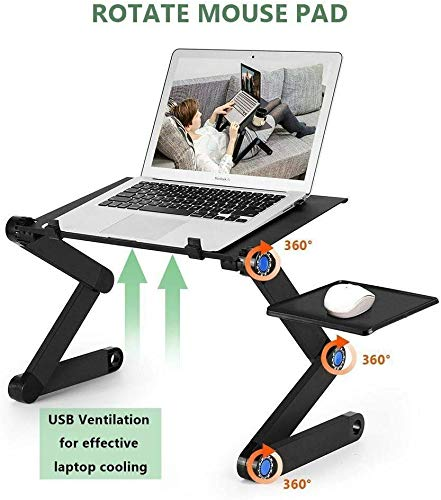 Adjustable Laptop Table,Portable Folding Light Laptop Stand Ergonomic Lap Desk with CPU Cooling Fan & Mouse Pad in Bed Couch Sofa Office