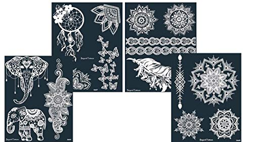Mikronetz Tattoo Schablonen/Vorlagen für Körperbemalung selbstklebend einfach und wiederverwendbar 4 Sheet set Lorena