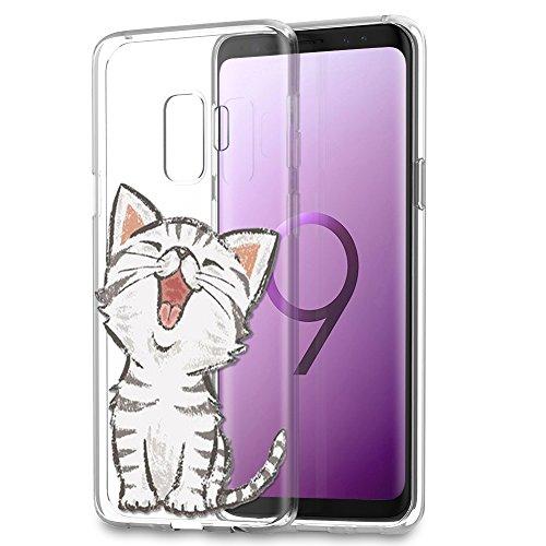 Eouine Samsung Galaxy S9 Hülle, Schutzhülle Silikon Transparent mit Muster Motiv Handyhülle [Ultra Dünn] Slim Stoßfest Weich TPU Bumper Case Backcover für Samsung Galaxy S9 (Lächelnde Katze)