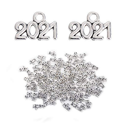 FLOFIA 100 Stück 2021 Charm Anhänger zum Basteln Schmuck Anhänger selber Machen DIY Jahrgang Charme für Armband Halskette Ohrring Charms Schmuckherstellung Silber