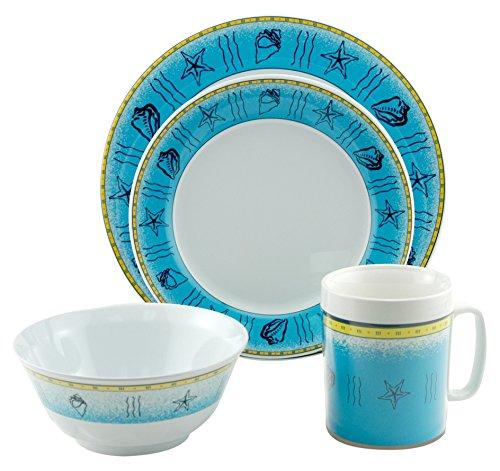 Galleyware Offshore 24 Piece Melamine Non-Skid Dinnerware Set