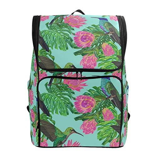 Ahomy Schulranzen Tropische Blumen Kolibri Blatt Wanderrucksack Cool Sport Rucksack Laptop Tasche Leichter Schulrucksack für Teenager Mädchen Jungen