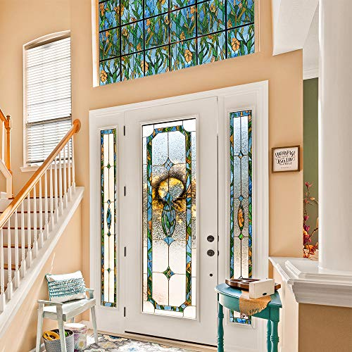 funlife Stained Glass Window Film Static Cling Glass Film Decorative for Home Decor, Irises 11.8' x 118'