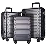 SHOWKOO 3 Piece Luggage Sets Expandable ABS Hardshell Hardside Lightweight Durable Spinner Wheels Suitcase with TSA Lock (Gray)