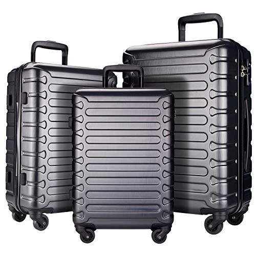 Showkoo Juego de 3 piezas de equipaje expandible ABS Hardshell Hardside ligero durable ruedas giratorias maleta con bloqueo TSA