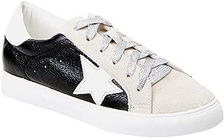 Womens Low Top Fashion Sneakers Glitter Star Lace Up Platform Walking Sneaker Shoes