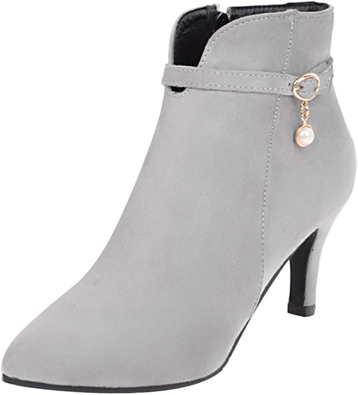 Cimaybeauty boot Women's Side Zipper High Heel Boots Belt Buckle Ankle Boots Stiletto shoes Boots