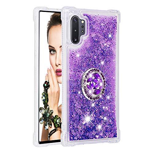 Coque pour Samsung Galaxy Note10+/Note10 Pro 5G,Brillante Cristal Diamant Anneau Socle de téléphone Liquide Dégradé Transparente Silicone TPU Étui Antichoc Coques(Violet)