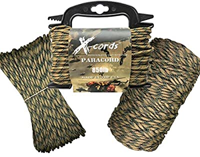 X-CORDS Paracord 850 Parachute Cord Made in The USA (Tactical CAMO, 100 FT (Coil in Bag)
