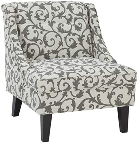 Best Signature Design by Ashley - Kexlor Vine Design Accent Chair, Gray/White
