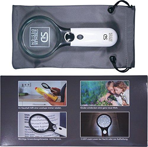 Profi Leselupe 6x Komplett-Set – Hochwertige LED Lupe mit Lese-Licht – 3x und 45x Vergrößerungsglas + Tasche inkl. Zubehör – für Senioren & zum Verschenken - 4