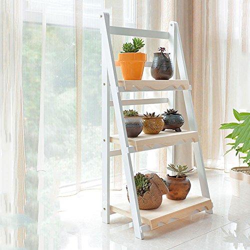 Étagère à fleurs, étagère à fleurs, étagère à plantes, support de fleurs, parquet en bois pour le salon, cadre de fleurs pliable à 3 étages, dimensions : 118 x 85 cm