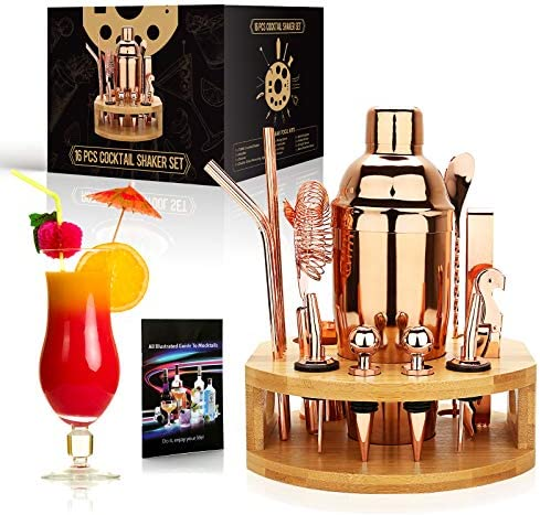 exreizst 25 oz Cocktail Shaker Set 16 Pcs Mixology Bartender Kit with Bamboo Stand Professional product image