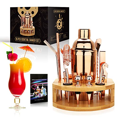 exreizst - Juego de coctelera de 25 onzas, 16 piezas, kit de...