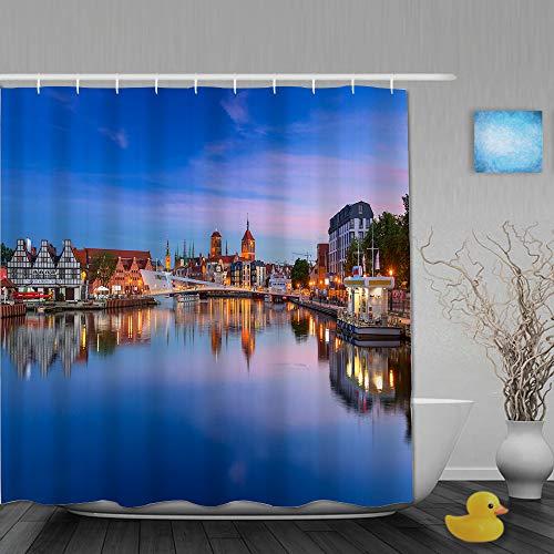 VICAFUCI Duschvorhang 180 * 180,Gdansk Polen Altstadt in Danzig und Laufsteg über Motlawa Fluss bei Sonnenuntergang Polen,Wasserabweisend Shower Curtain mit 12 Duschvorhangringen