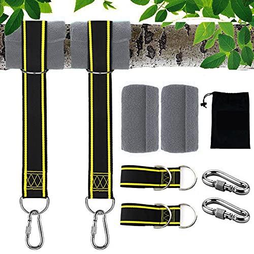 Schaukel Befestigung, schaukel aufhängung Schwerlast aus Reißfestem Polyester, Aufhängung Schaukel Gurt mit 2 Karabinern und D-Ringen, 2 Baumschutz Tuch, Max 500kgs (1.5M)