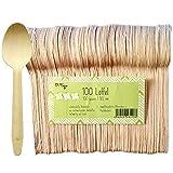 Pritogo 100 Cucchiai monouso in legno di betulla – 100% naturale, ecologico e stabile, circa 16,5 cm di lunghezza (100 pezzi)